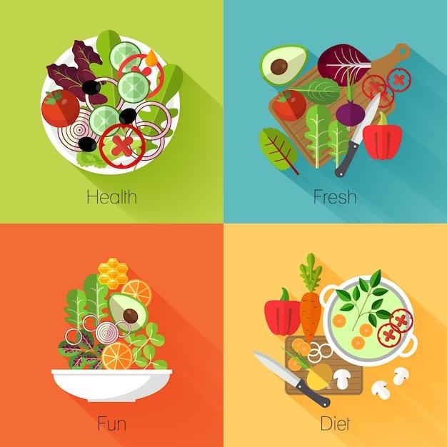 Banners de ensalada fresca. vegetal y aguacate, producto natural, comer repollo y zanahoria, dieta nutricional vitamínica. vector gratuito