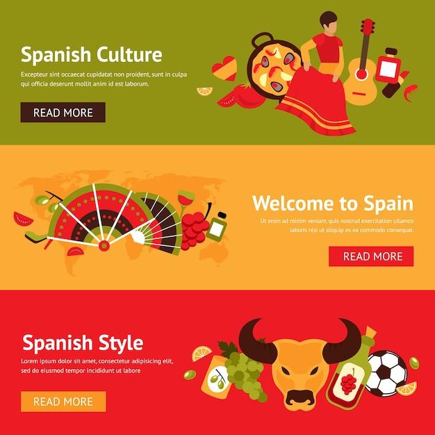 Banners españoles con elementos tradicionales vector gratuito