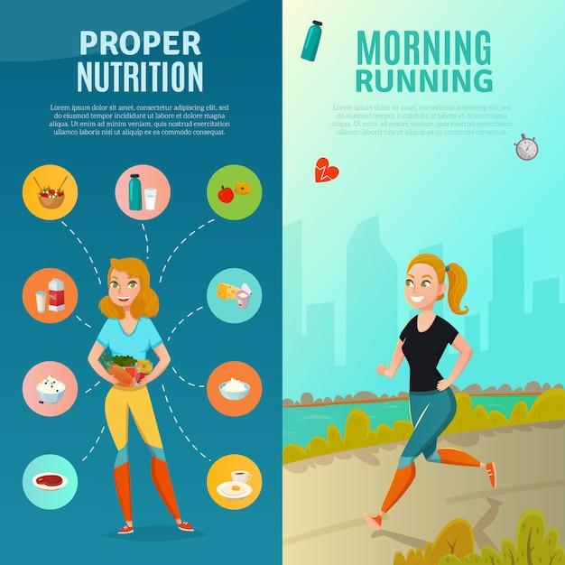Banners de estilo de vida saludable vector gratuito