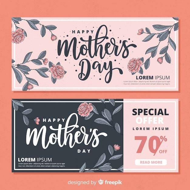 Banners de feliz día de la madre vector gratuito