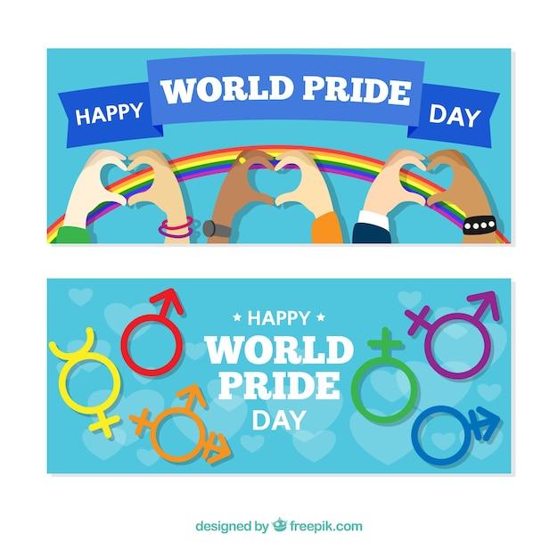 Banners de feliz día del orgullo vector gratuito