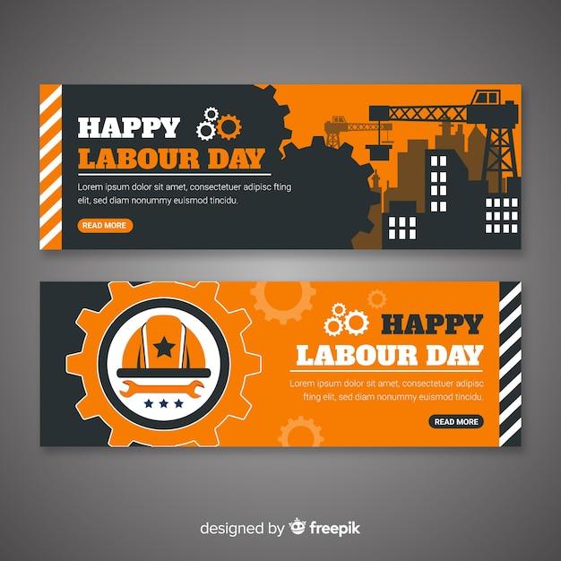 Banners de feliz día del trabajador vector gratuito