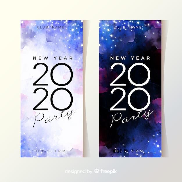 Banners de fiesta acuarela año nuevo 2020 vector gratuito