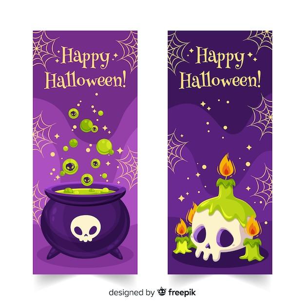 Banners de fiesta de halloween plano de bruja vector gratuito