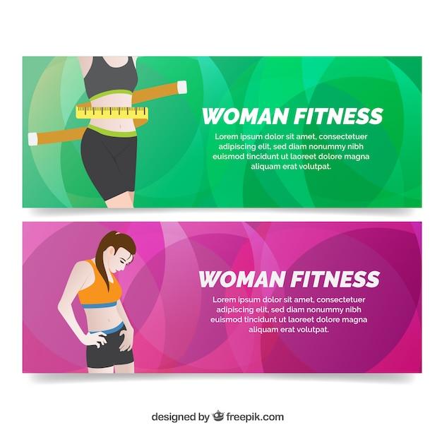 Banners de fitness con fondos abstractos vector gratuito