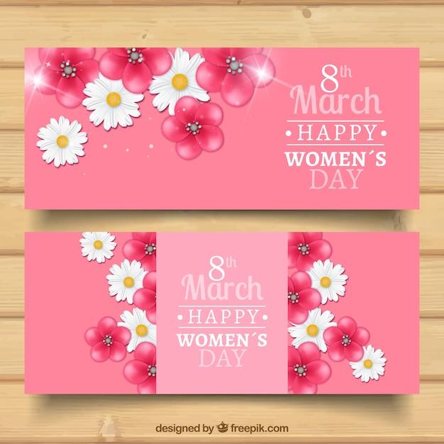 Banners florales del día de la mujer  Vector Gratis