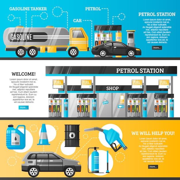 Banners de gasolineras vector gratuito
