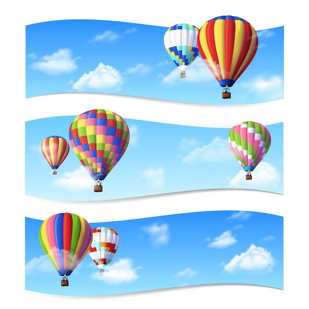 Banners de globo de aire vector gratuito