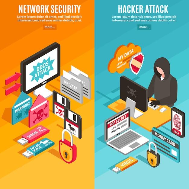 Banners de hackers de internet vector gratuito