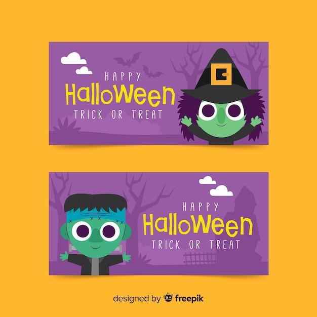 Banners de halloween con bruja y monstruo frankenstein vector gratuito