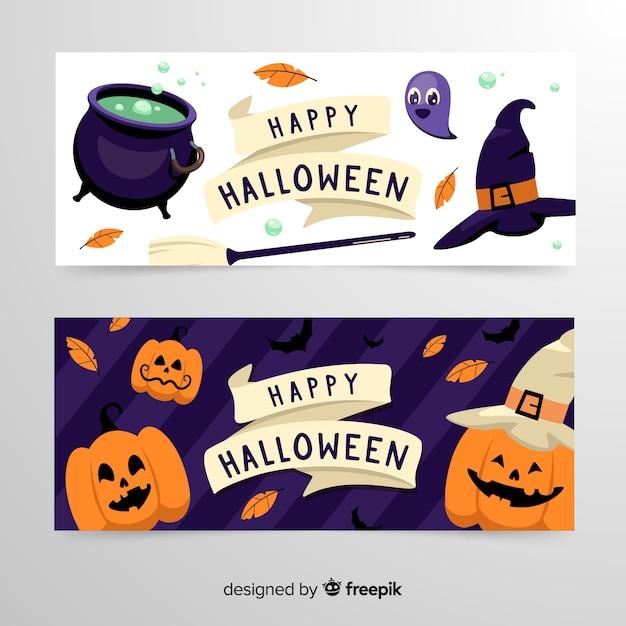 Banners de halloween de brujería y calabazas vector gratuito
