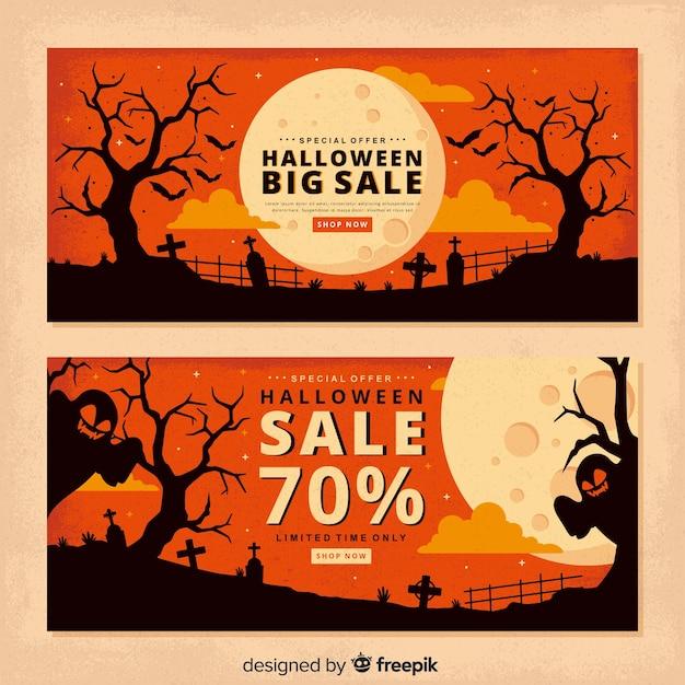 Banners de halloween de luna llena vintage vector gratuito