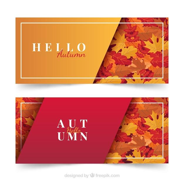 Banners con hojas otoñales vector gratuito