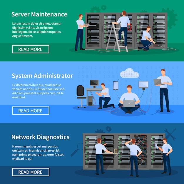 Banners horizontales de administrador de ti con ingenieros de red que trabajan en la sala de servidores vector gratuito