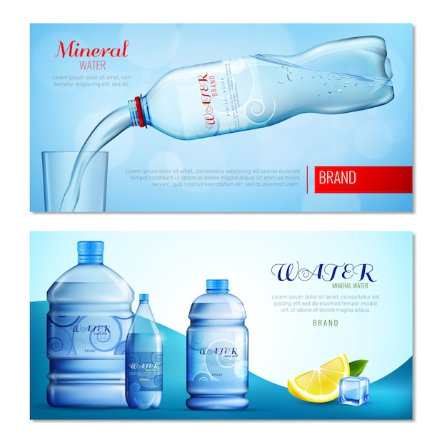 Banners horizontales de agua en botella de plástico vector gratuito