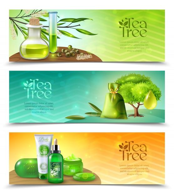 Banners horizontales de árbol de té vector gratuito