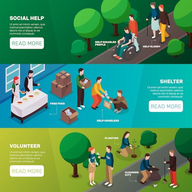 Banners horizontales de ayuda social vector gratuito