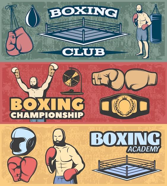 Banners horizontales de boxeo con campeonato de clubes de lucha y academia en estilo grunge vector gratuito