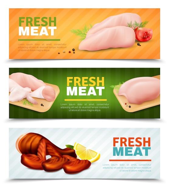 Banners horizontales de carne de pollo fresco vector gratuito