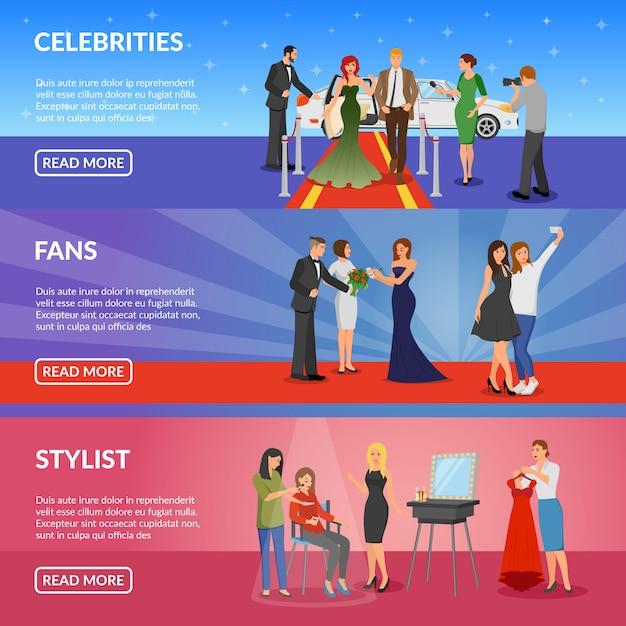Banners horizontales de celebridades vector gratuito