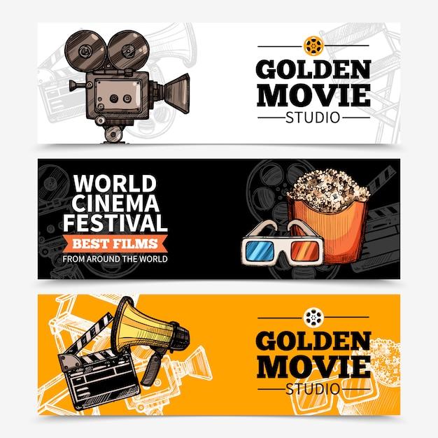Banners horizontales de cine vector gratuito