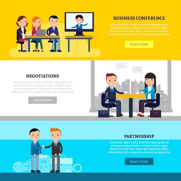 Banners horizontales de colaboración empresarial vector gratuito