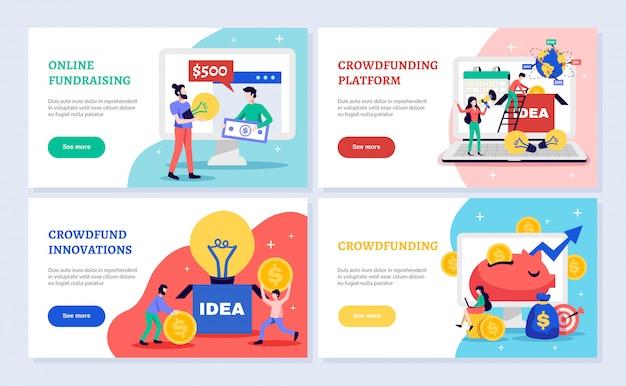 Banners horizontales de crowdfunding establecidos con símbolos de recaudación de fondos ilustración aislada plana vector gratuito
