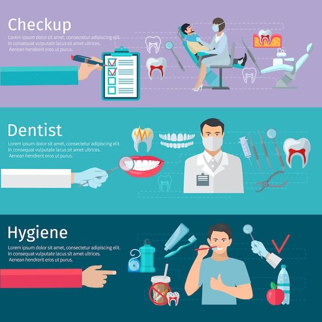 Banners horizontales de cuidado de los dientes conjunto de herramientas de dentista chequeo profiláctico y productos de higiene plano ve vector gratuito