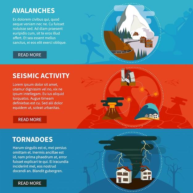 Banners horizontales de desastres naturales vector gratuito