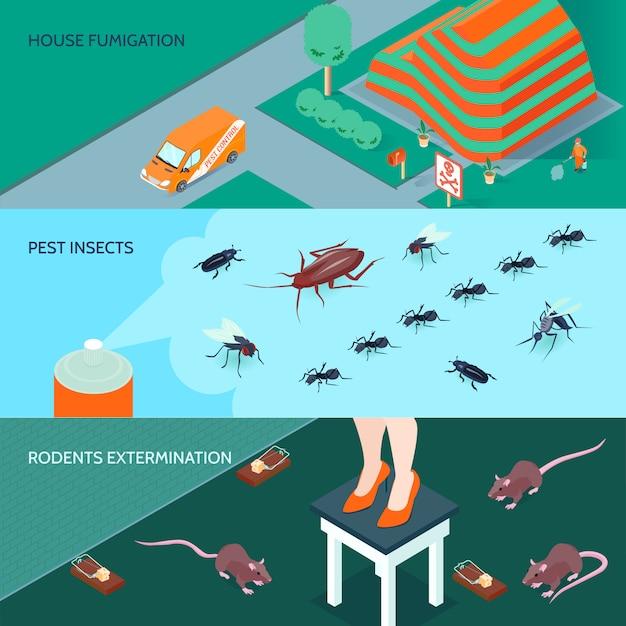 Banners horizontales de desinfección doméstica con métodos de exterminio de insectos y roedores 3d isométrico ilustración vectorial aislado vector gratuito