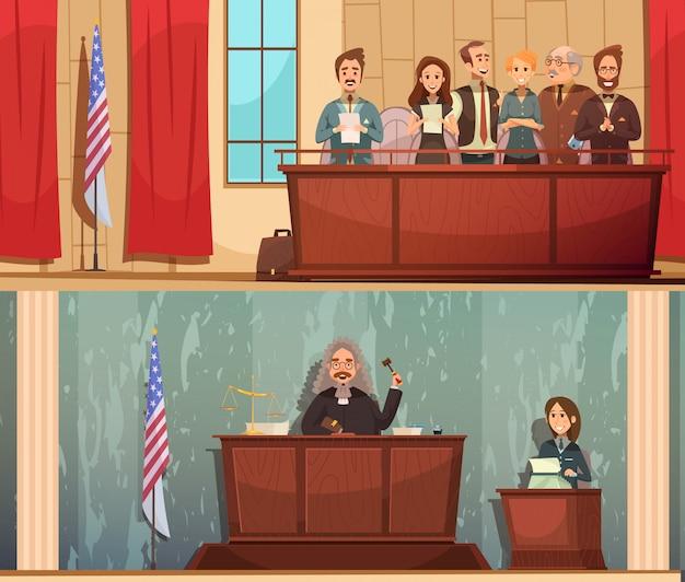 Banners horizontales de dibujos animados vintage de la ley y la justicia americana 2 con sentencia pronunciada en sala de audiencias vector gratuito