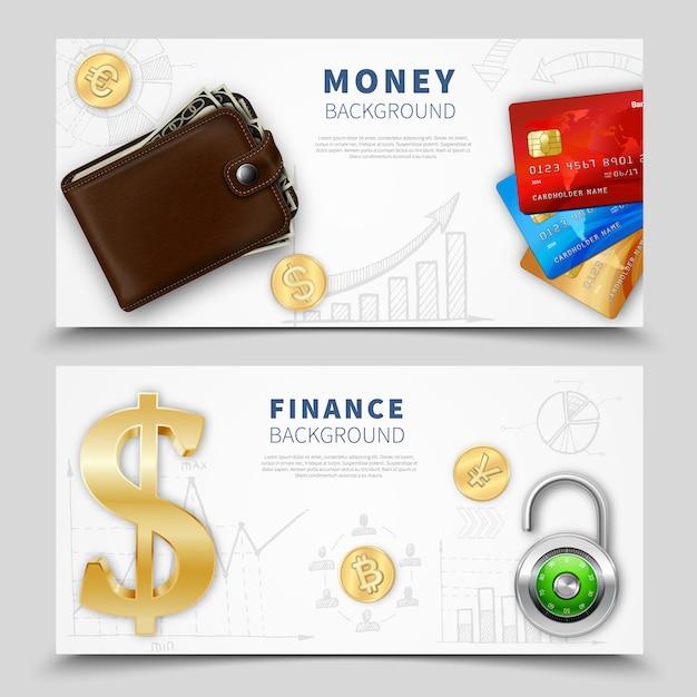 Banners horizontales de dinero realista vector gratuito