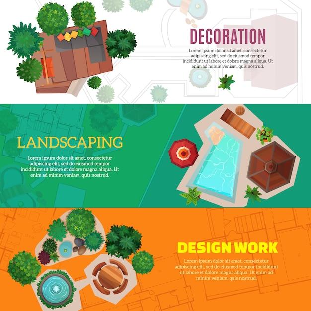 Banners horizontales de diseño de paisaje vector gratuito