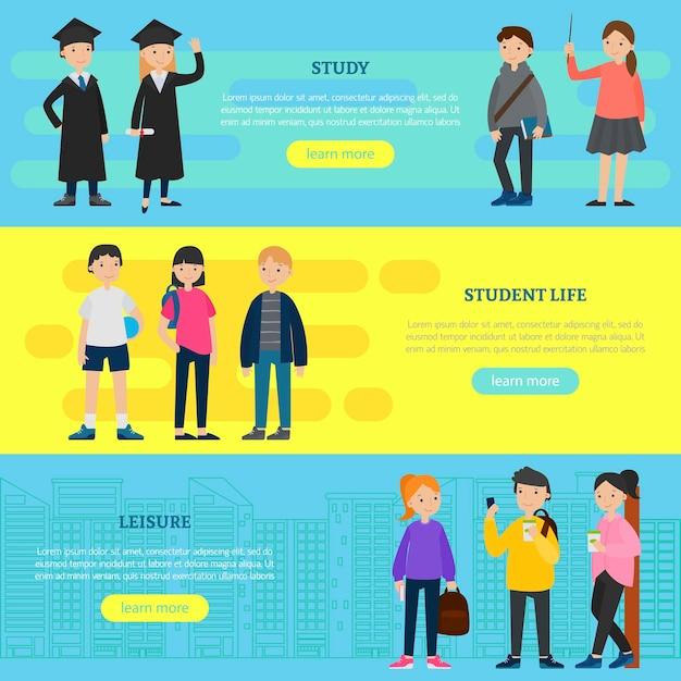 Banners horizontales de educación colorida vector gratuito
