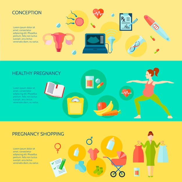 Banners horizontales de embarazo con símbolos de compras de embarazo vector gratuito
