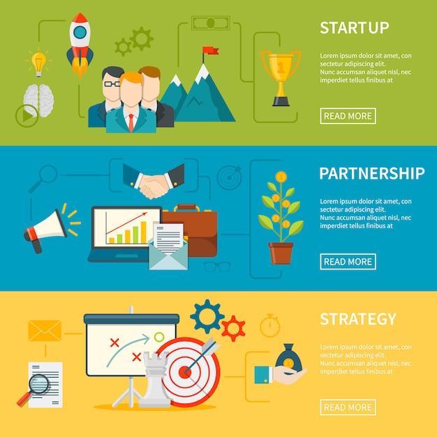 Banners horizontales de emprendimiento vector gratuito