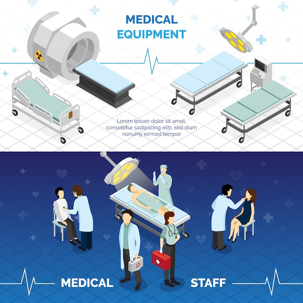 Banners horizontales de equipos médicos y personal médico. vector gratuito