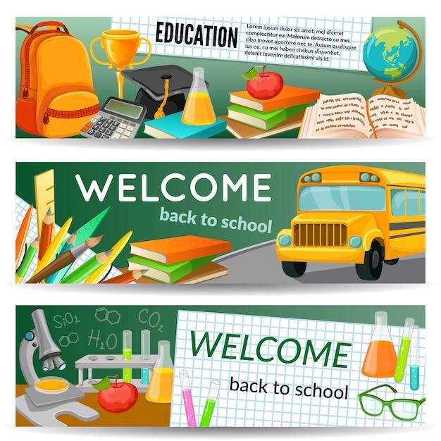 Banners horizontales escolares con papelería de autobús amarillo suministros químicos libros de texto premio mochila microscopio aislado ilustración vectorial Vector Premium