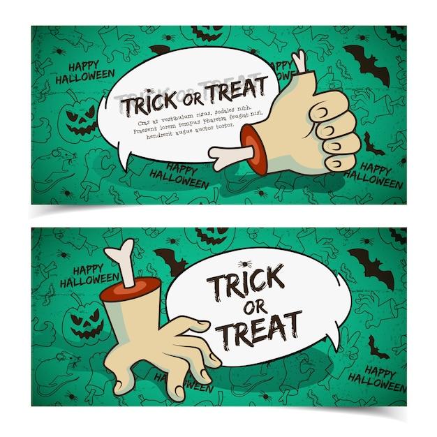 Banners horizontales espeluznantes de halloween con gestos de brazo de zombie de nube de discurso vector gratuito