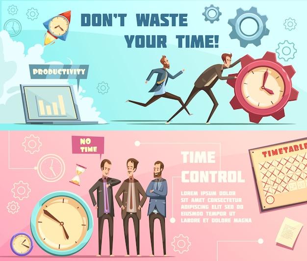 Banners horizontales en estilo retro de dibujos animados con gestión del tiempo que incluye planificación y productividad efectivas vector gratuito