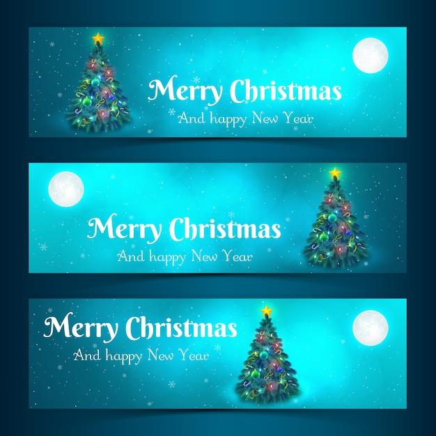 Banners horizontales de feliz navidad con árbol de navidad decorado a la luz de la luna ilustración vectorial aislada plana vector gratuito