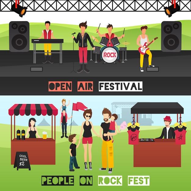 Banners horizontales del festival al aire libre con músicos en el lugar de espectáculos, bebidas, puestos de recuerdos y visitantes vector gratuito