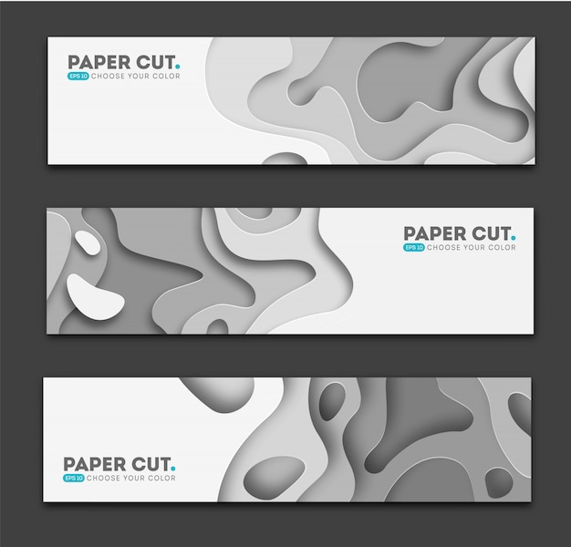 Banners horizontales con fondo abstracto 3d Vector Premium