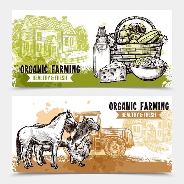 Banners horizontales de granja vector gratuito