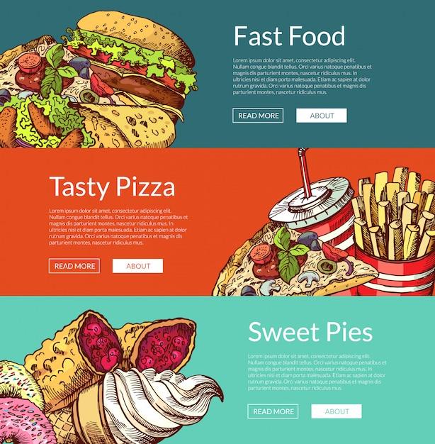 Banners horizontales con hamburguesas de comida rápida, helados y pizza. Vector Premium