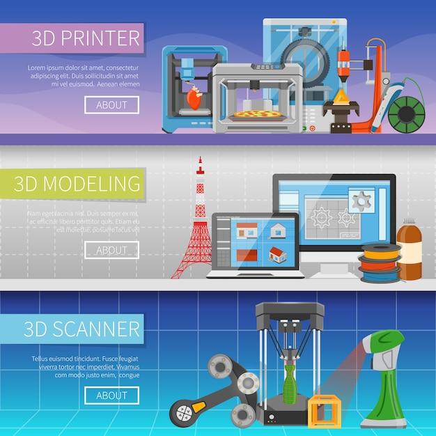 Banners horizontales de impresión 3d vector gratuito