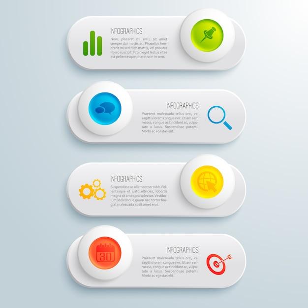 Banners horizontales de infografía empresarial con texto colorido círculos e iconos ilustración vector gratuito