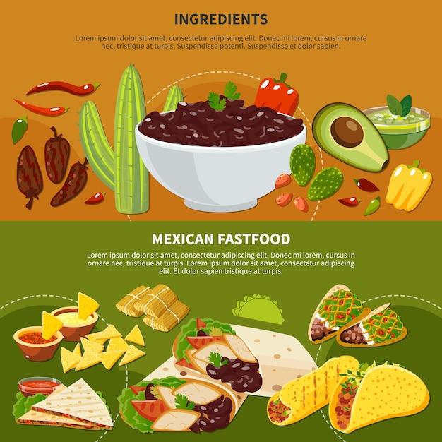 Banners horizontales con ingredientes de platos mexicanos y comida rápida en terracota y fondo verde aislado vector gratuito