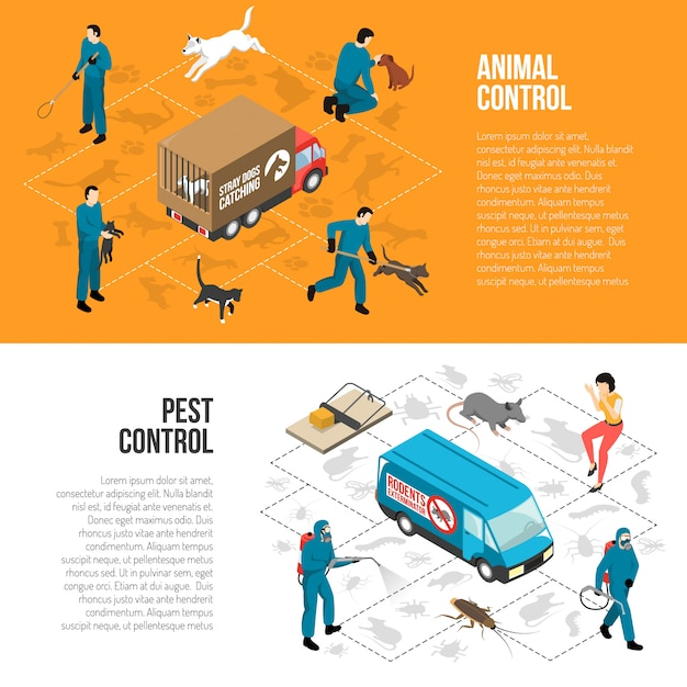 Banners horizontales isométricos de control animal vector gratuito