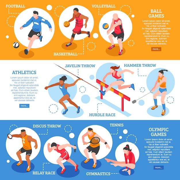 Banners horizontales isométricos de deportistas vector gratuito